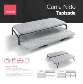 Base tapizada, cama nido