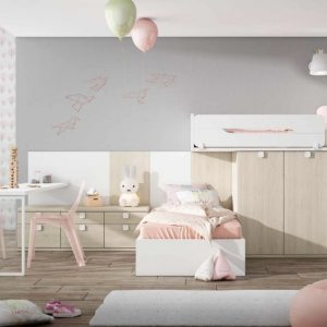Dormitorio juvenil dos camas con mesa de estudio