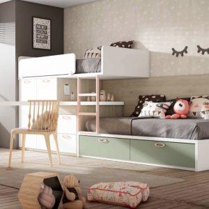 Dormitorio juvenil con dos camas tipo tren