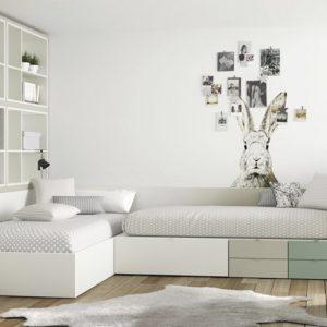 Dormitorio juvenil Sidney con dos camas