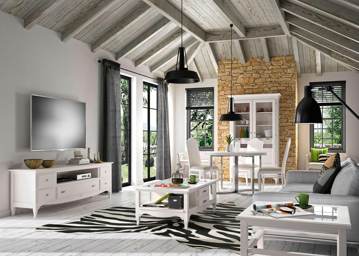 Conjunto colonial blanco de muebles Toscana