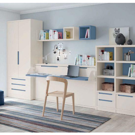 Dormitorio juvenil con cama abatible Muebles Toscana