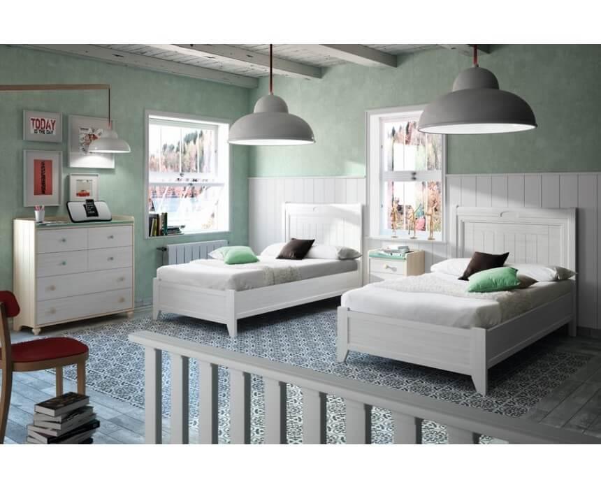 Dormitorio juvenil estilo colonial 2 camas | Muebles Toscana