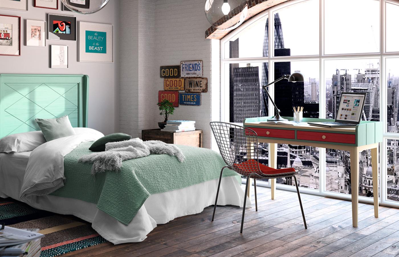 Dormitorio juvenil estilo vintage muebles toscana for Muebles dormitorio vintage