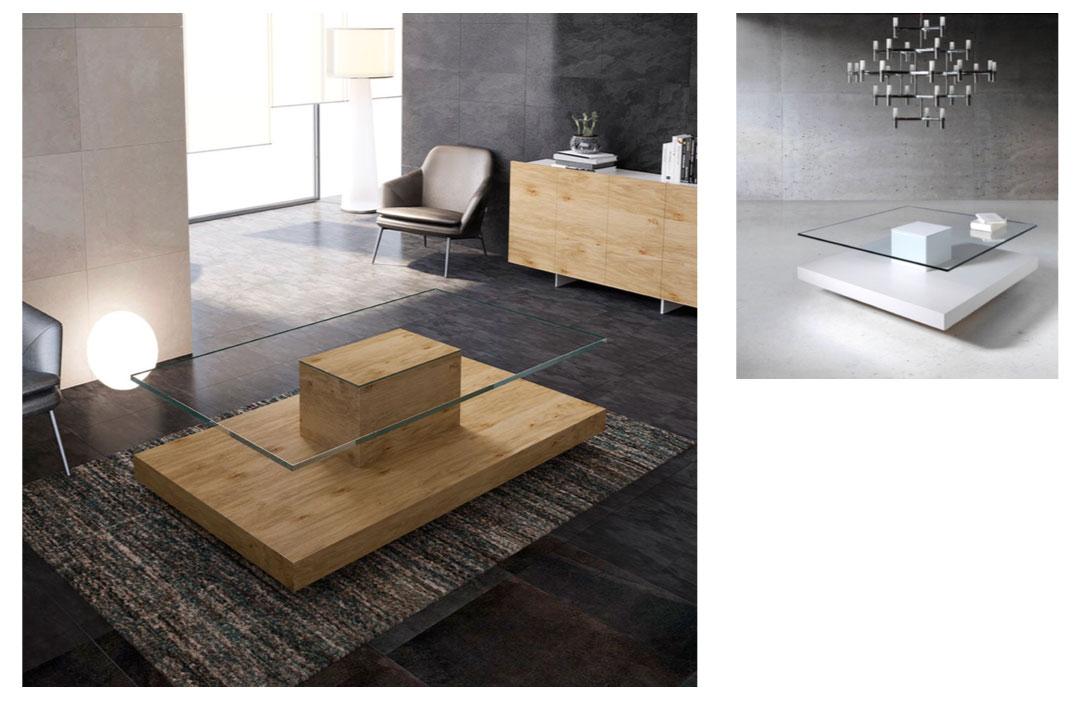 Mesa de centro con tapa de cristal y peana en roble muebles toscana - Muebles tapa tapa ...