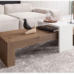 Muebles Toscana mesa centro con bandeja corredera blanca