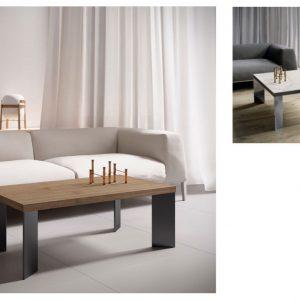 Muebles Toscana mesa centro rectangular chapa roble patas hierro