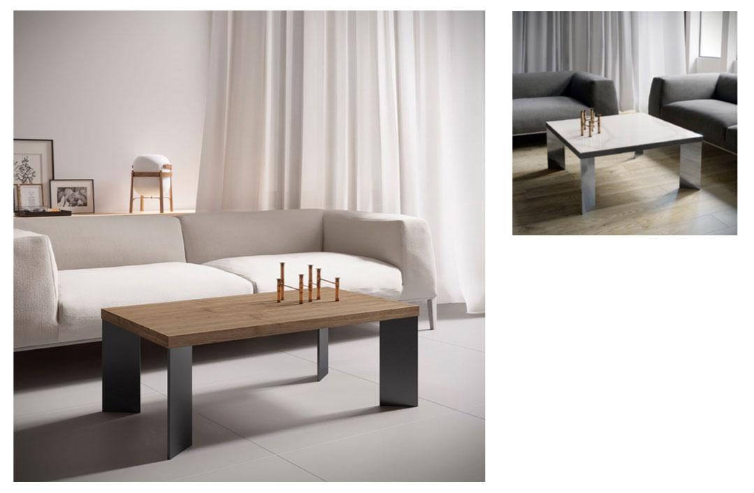Mesa de centro rectangular en chapa de Roble y patas en hierro ...