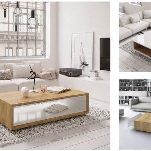 Muebles Toscana Mesa de centro rectangular lacada en blanco brillo
