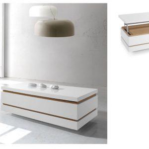 Muebles Toscana Mesa de centro rectangular lacada en blanco con detalles en roble