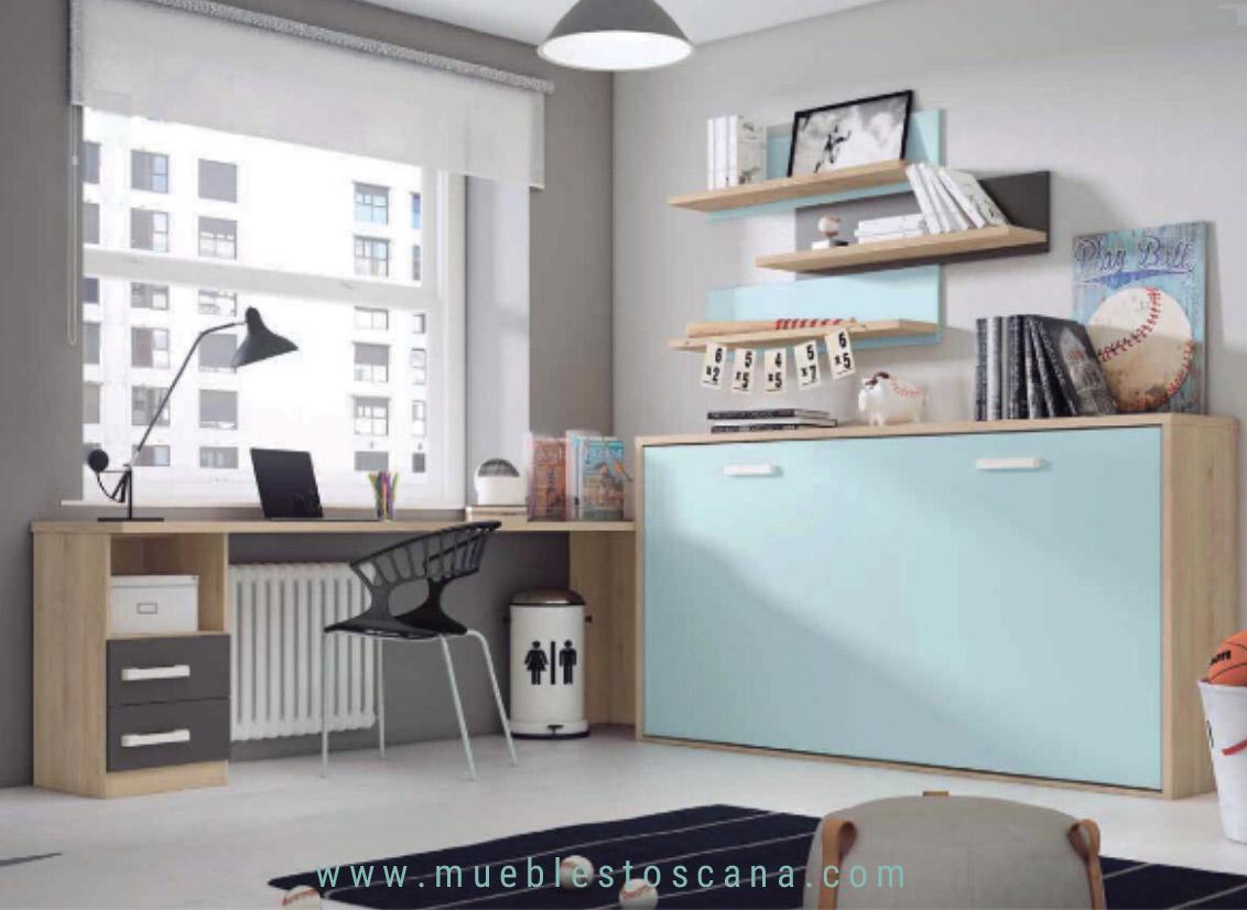 Dormitorio juvenil con cama abatible horizontal
