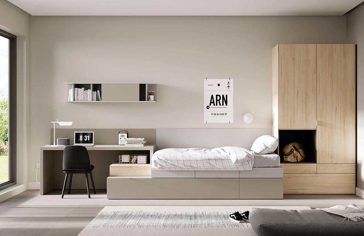 Dormitorio Kubox cama doble adolescentes