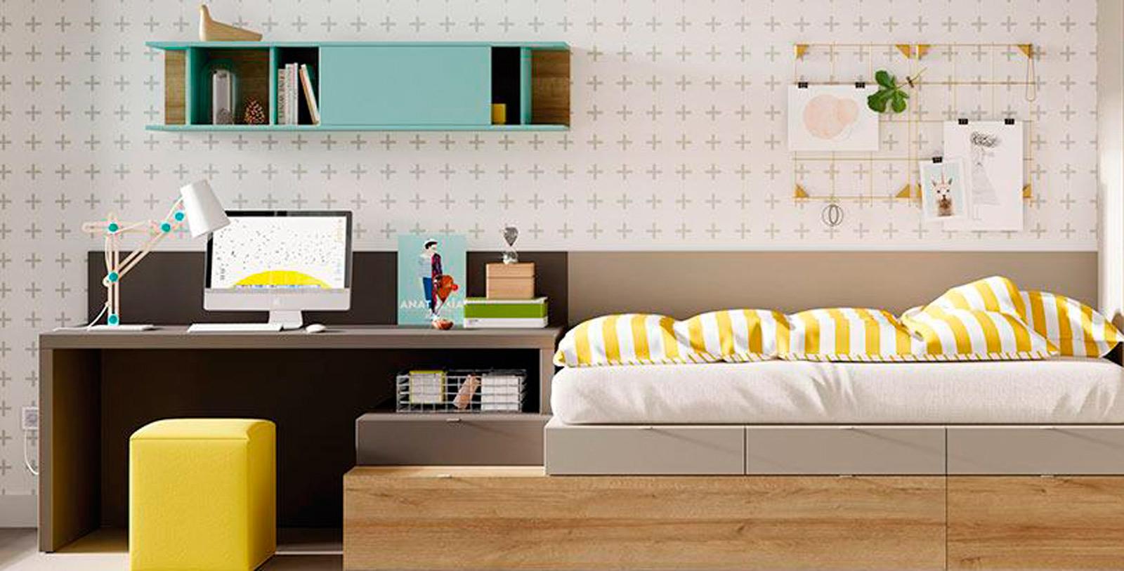 Cama y escritorio dKubox e Muebles Toscana