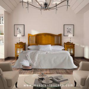 Dormitorio de matrimonio colonial Decco acabado miel