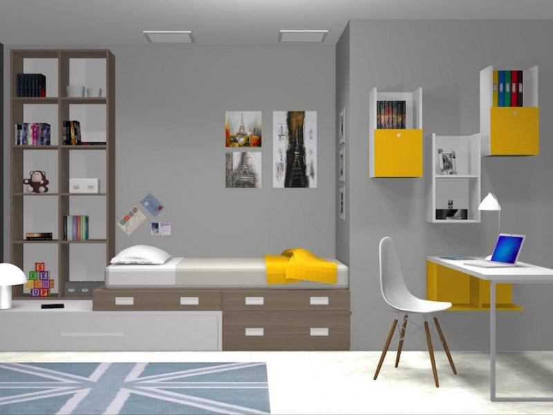 Dormitorio juvenil 3D amarillo