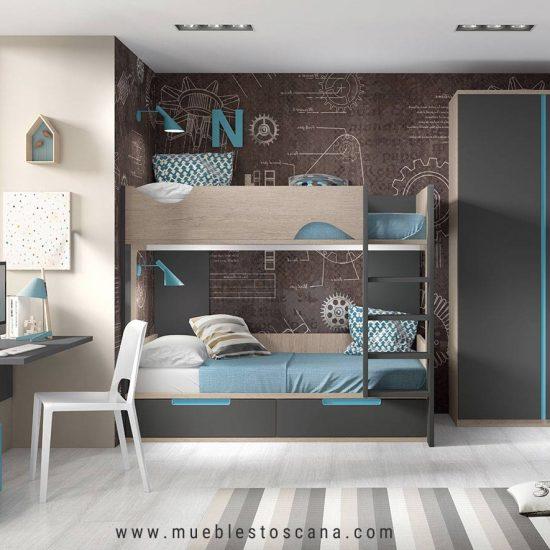 Dormitorio juvenil modular con litera y mesa de estudio