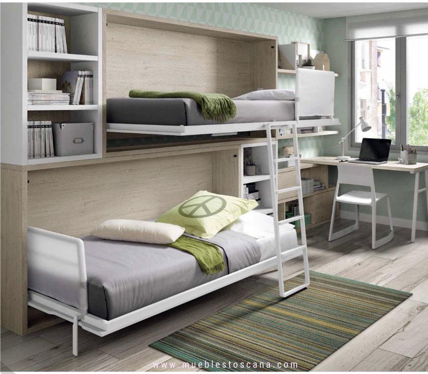Dormitorio juvenil con camas abatibles