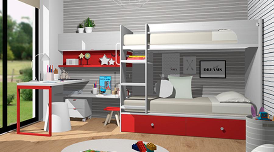 Proyecto 3D Muebles Toscana Dormitorio infantil juvenil
