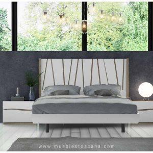 Dormitorio de matrimonio moderno en blanco y roble