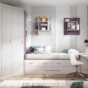 Dormitorio juvenil compacto con armario rincón