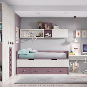 Dormitorio juvenil con cama supletoria