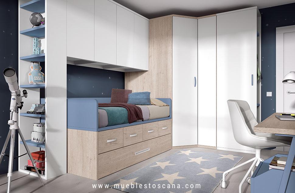 Dormitorio juvenil compacto moderno con armario muebles for Camas compactas juveniles