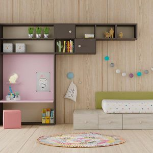 Cama Kubox con respaldo y cabecero tapizado de Lagrama Muebles Toscana