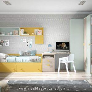 Dormitorio juvenil con zona de estudio y armario