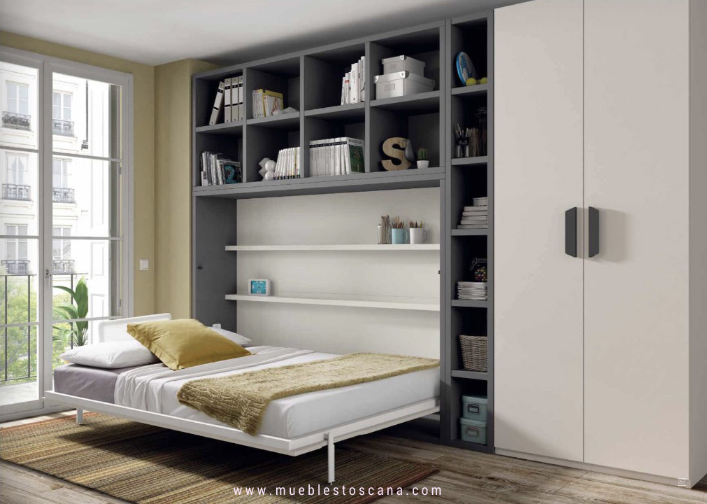 Dormitorios juveniles con camas abatibles para aprovechar - Habitaciones juveniles con cama abatible ...