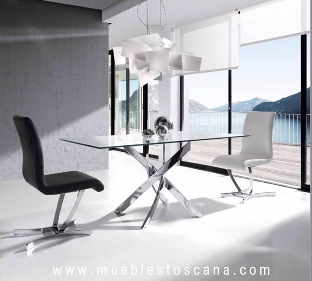 Mesa de comedor moderna con tapa de cristal