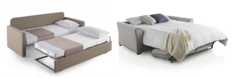 Ejemplo de dos sofás cama abiertos